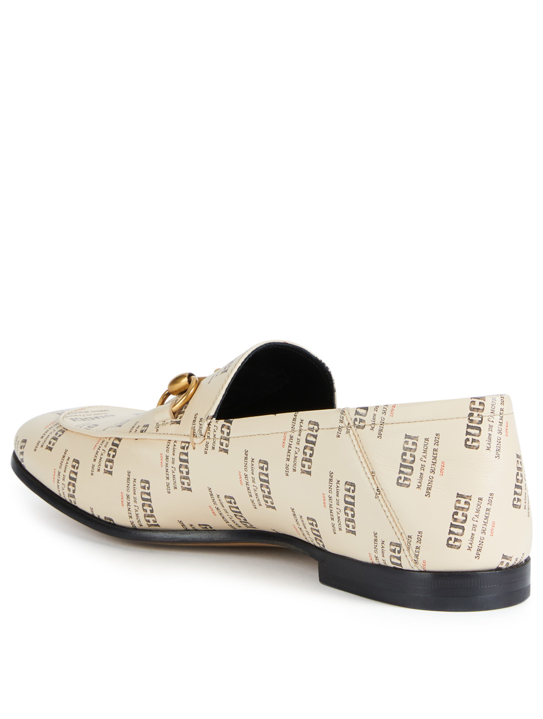 4ed451a7998 ... GUCCI Brixton Leather Loafers In Gucci Stamp Print Men s Neutral ...