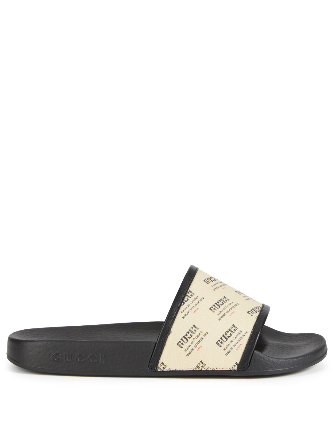 103213df898 GUCCI Pursuit Pool Slides With Gucci Stamp Strap