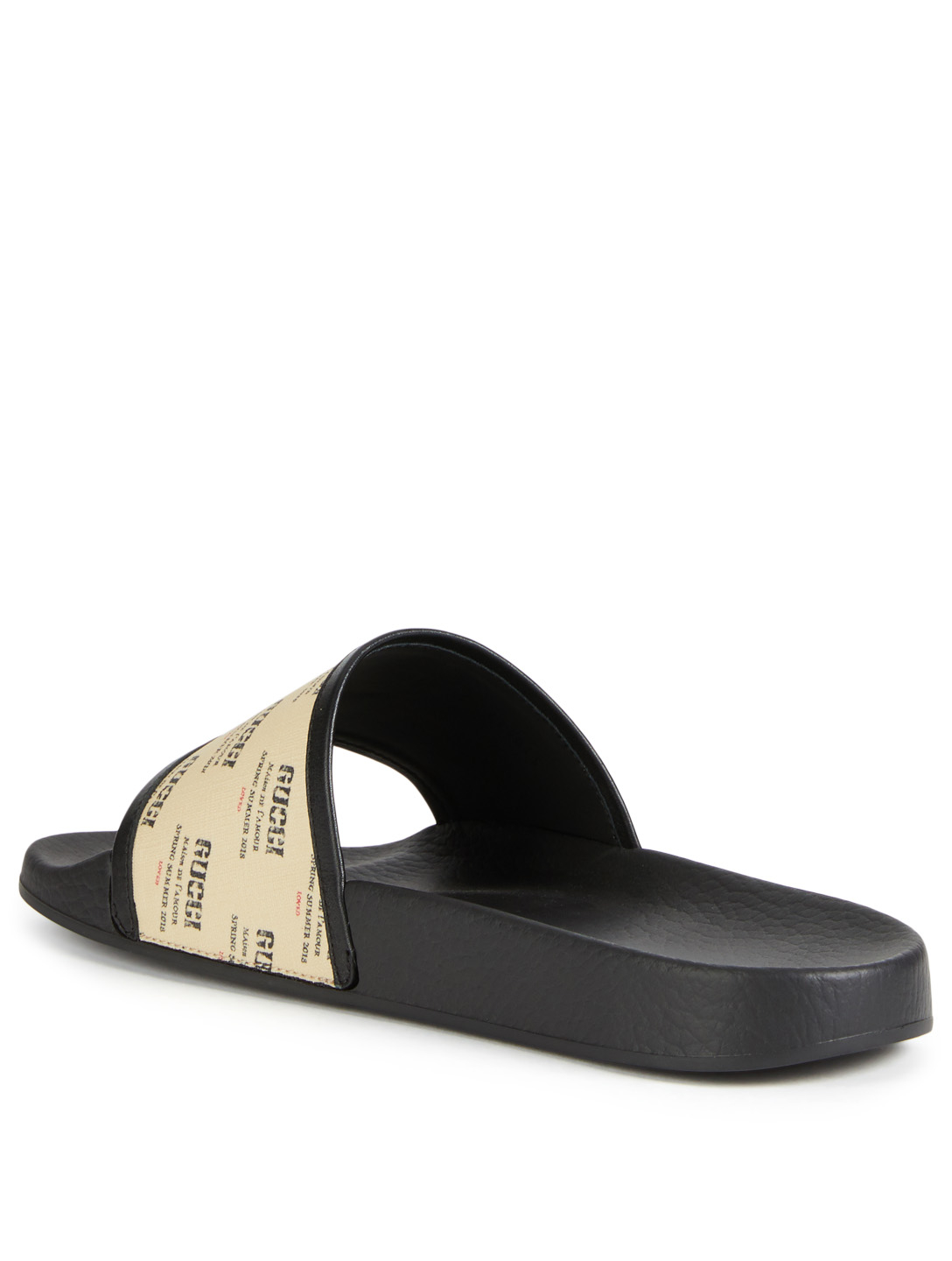 4293fe778ab ... GUCCI Pursuit Pool Slides With Gucci Stamp Strap Men s Neutral ...