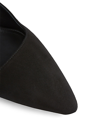 THE ROW Coco Suede Kitten Heel Mules Womens Black