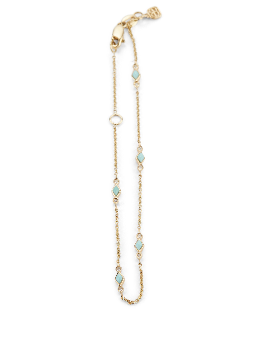 SYDNEY EVAN 14K Gold Bracelet With Turquoise and Diamonds Women's Gold