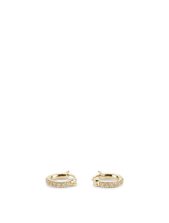 Small 14k Gold Huggie Hoop Earrings With Diamonds Earrings Holt