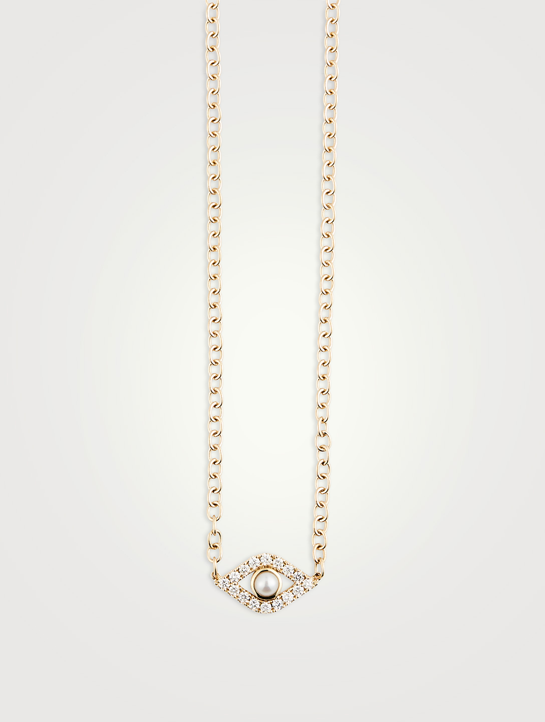 SYDNEY EVAN Extra Large 14K Gold Evil Eye Necklace With Diamonds And Pearl Women's Gold