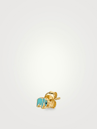 SYDNEY EVAN Mini 14K Gold Elephant Single Stud Earring Womens Gold