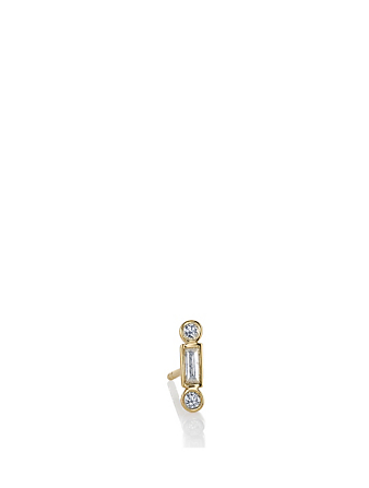 SYDNEY EVAN 14K Gold Baguette Stud Earring With Diamonds Womens Gold