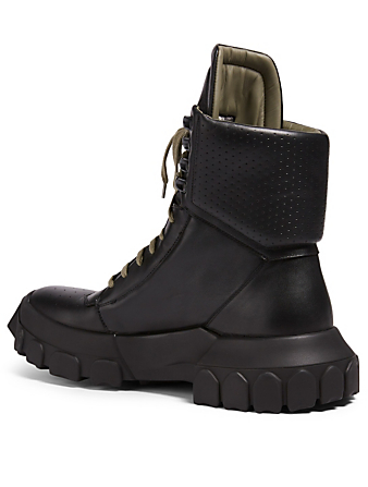 RICK OWENS Leather Hiking Boots Men's Black