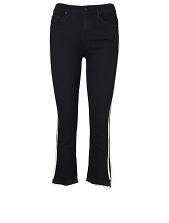 MOTHER Insider High-Rise Cropped Jeans With Racer Stripe Women's Black