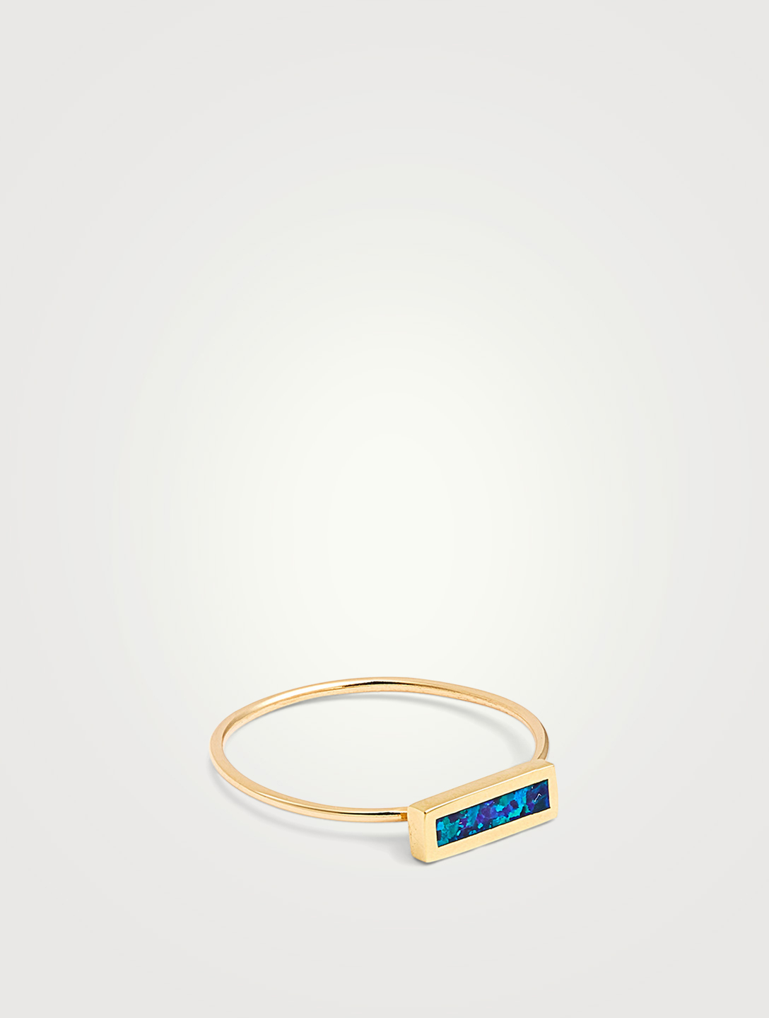 JENNIFER MEYER Gold Opal Inlay Short Bar Ring Women's Gold