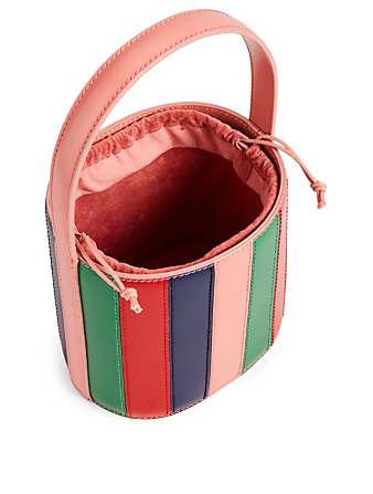 STAUD Bissett Colourblock Leather Bucket Bag Women's Multi