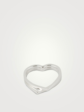REPOSSI Coeur D'Antifer 18K White Gold Double Band Ring Women's Silver