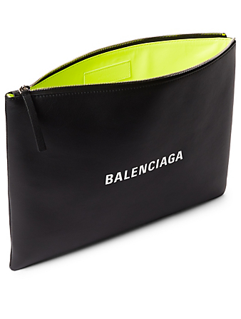 BALENCIAGA Two-Tone Leather Pouch With Logo Men's Black