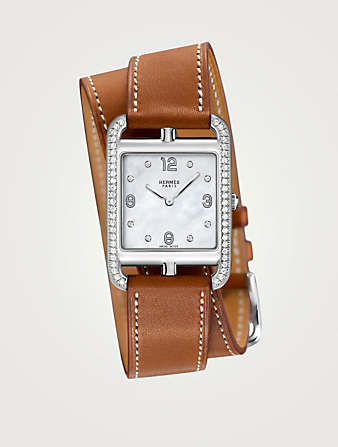 HERMÈS Large Cape Cod Steel Leather Strap Watch With Diamonds Women's Silver