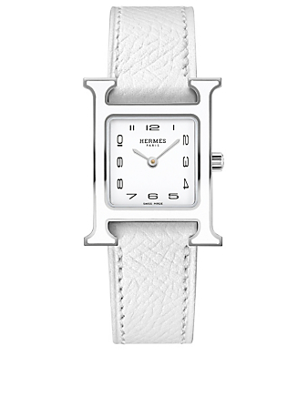 HERMÈS Small Heure H Stainless Steel Leather Strap Watch Women's Black