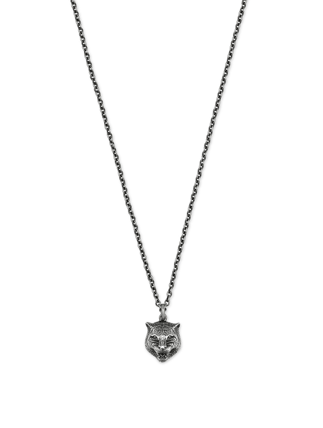 GUCCI Sterling Silver Feline Pendant Necklace Womens Silver