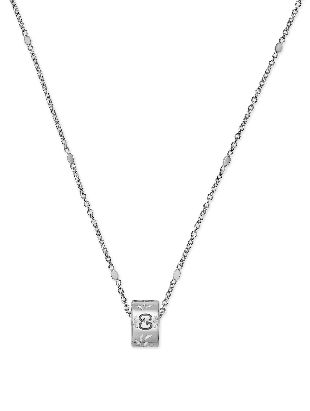 GUCCI Icon 18K White Gold Pendant Necklace Women's White