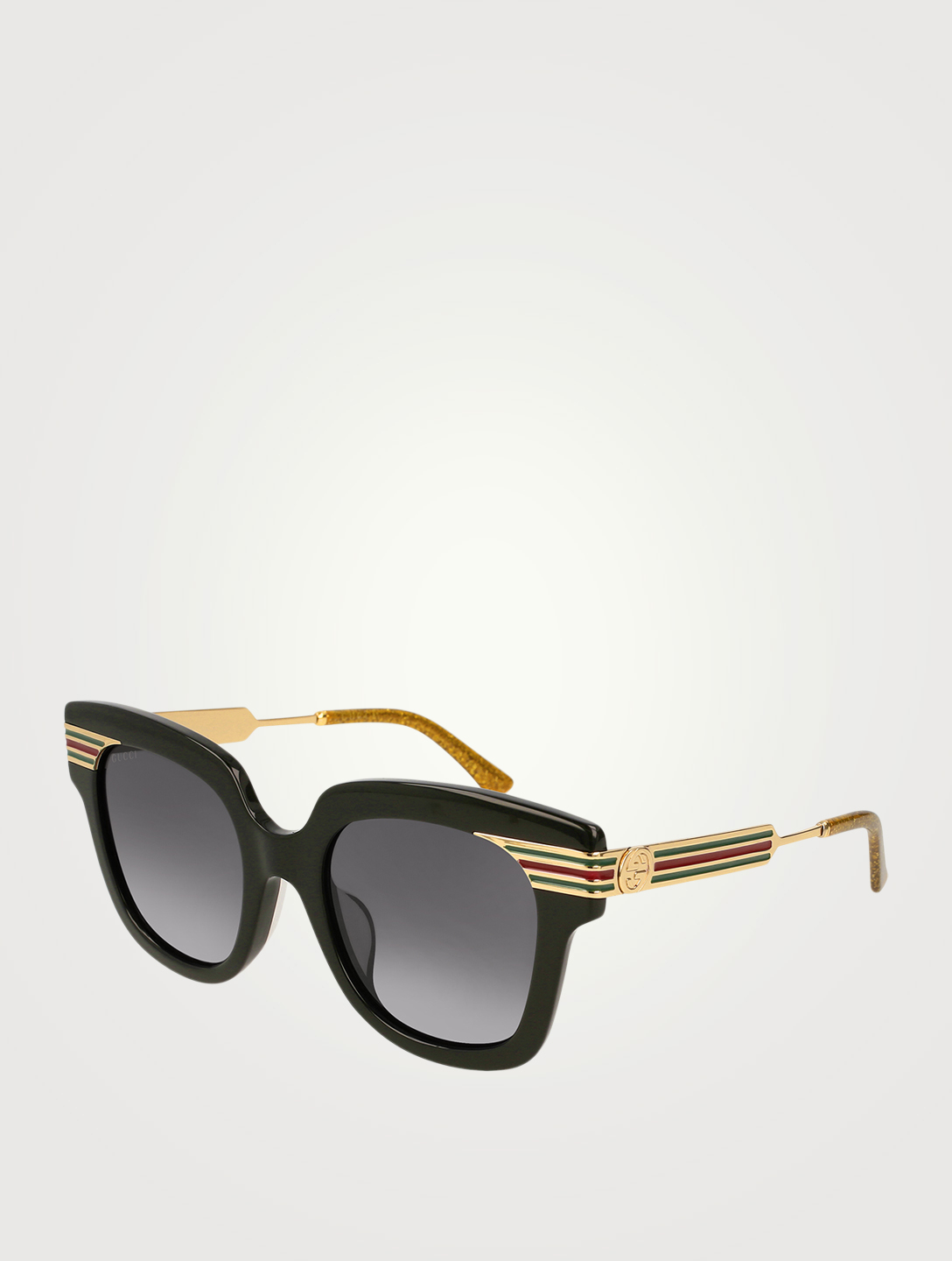 GUCCI Oversized Square Sunglasses With Vintage Web Womens Black