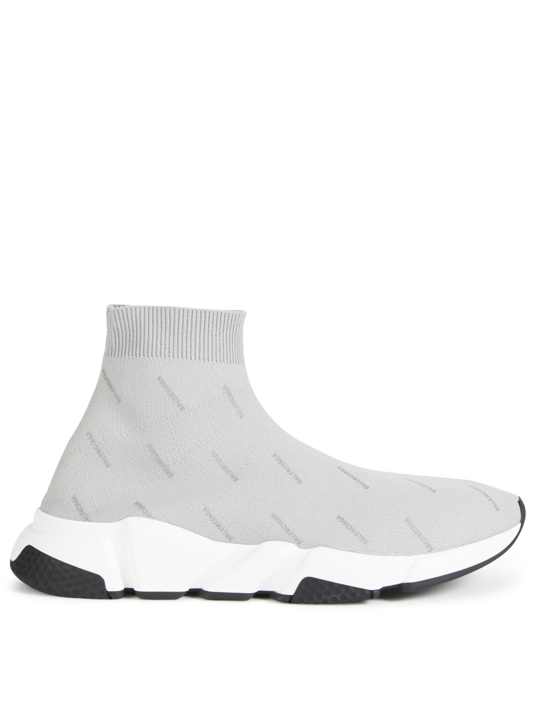 BALENCIAGA Speed High-Top Sock Sneakers In Logo Print Men's Grey