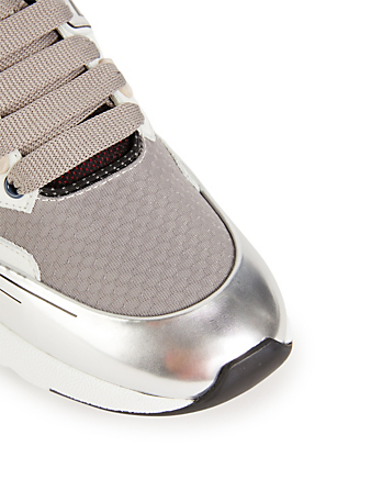 ALEXANDER MCQUEEN Oversized Patchwork Leather Runners Men's Grey