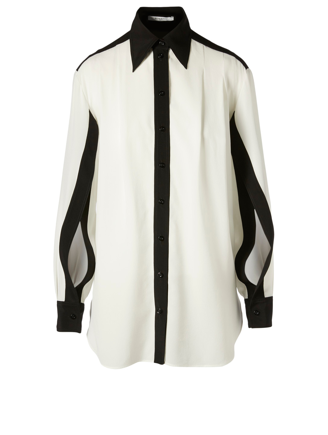 GIVENCHY Two-Tone Silk Shirt With Open Sleeves Women's White