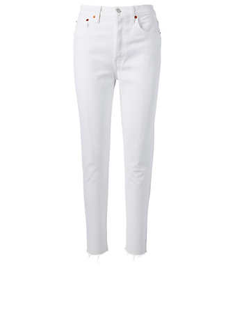 RE DONE Stretch High-Rise Ankle Jeans Women's White