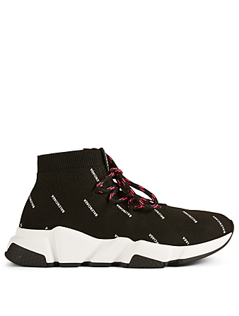BALENCIAGA Speed Lace-Up Sock Sneakers In Logo Print Womens Black