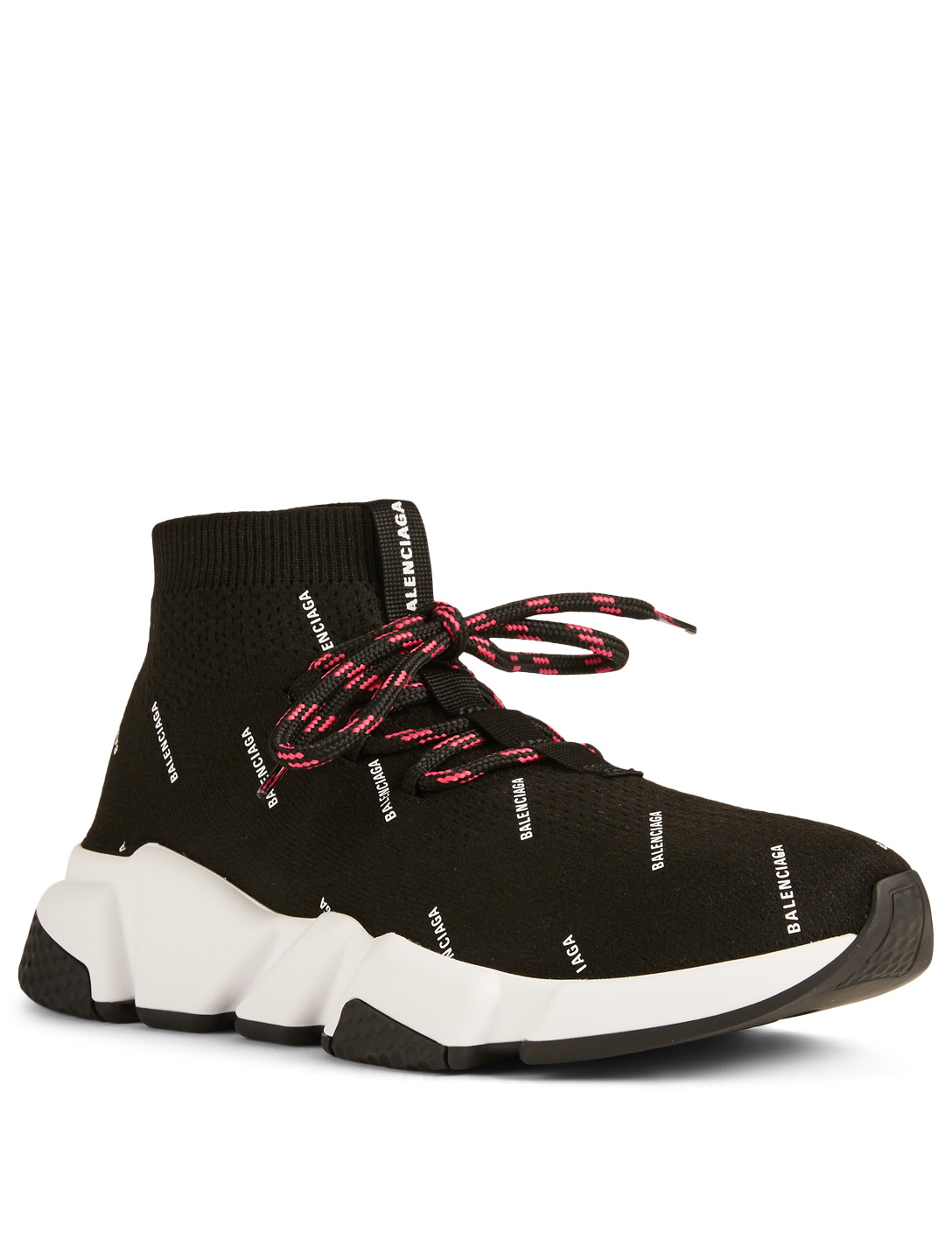 b53a682d36454 BALENCIAGA Speed Lace-Up Sock Sneakers In Logo Print