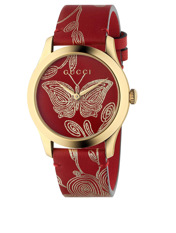 bd11b36fbe3 GUCCI. G-Timeless Le Marché Des Merveilles Goldtone Leather Strap Watch