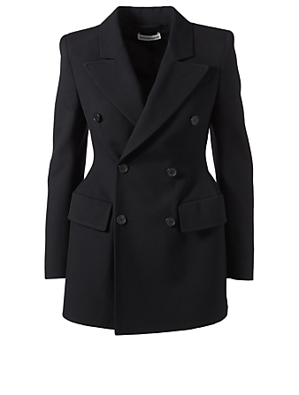 BALENCIAGA Hourglass Wool Double-Breasted Blazer Womens Black