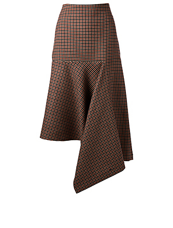 BALENCIAGA Wool Godet Skirt In Check Print Women's Brown