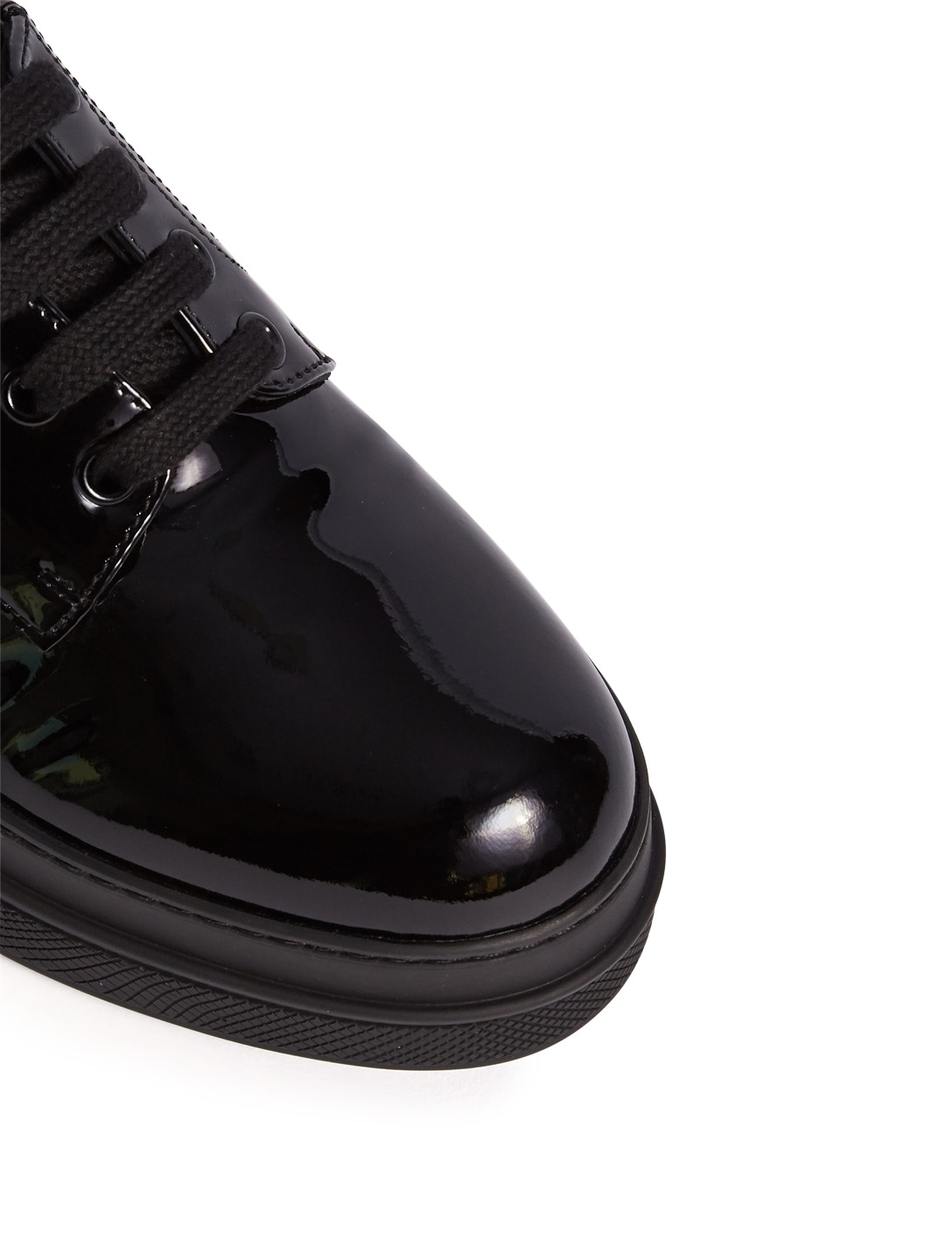 PRADA Patent Leather Oxford Sneakers Womens Black