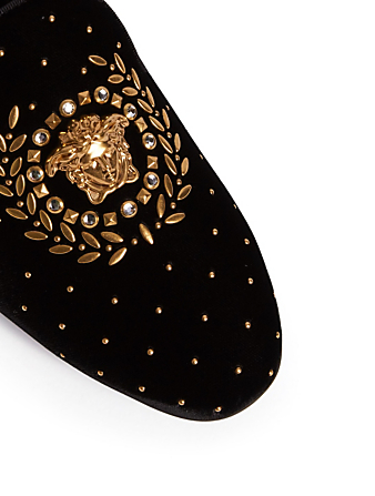 VERSACE Medusa Leaves Velvet Mules Women's Black