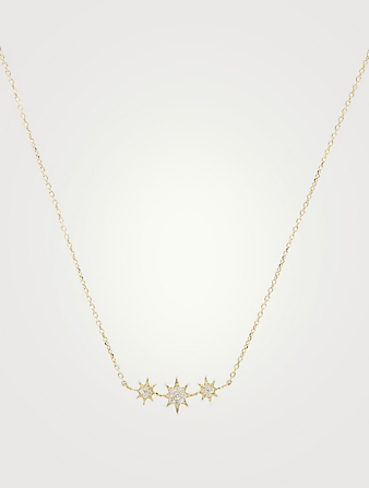 ANZIE Aztec 14K Gold North Star Micro Bar Necklace With Diamonds Women's Gold