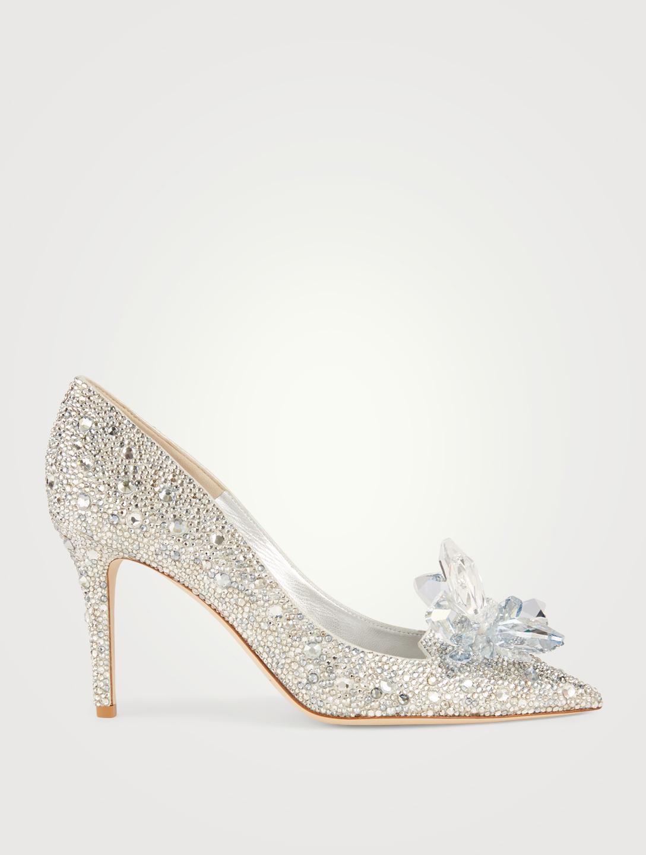 49f5dbe8849 JIMMY CHOO Cinderella Edit Alia Crystal Pumps Womens Silver ...