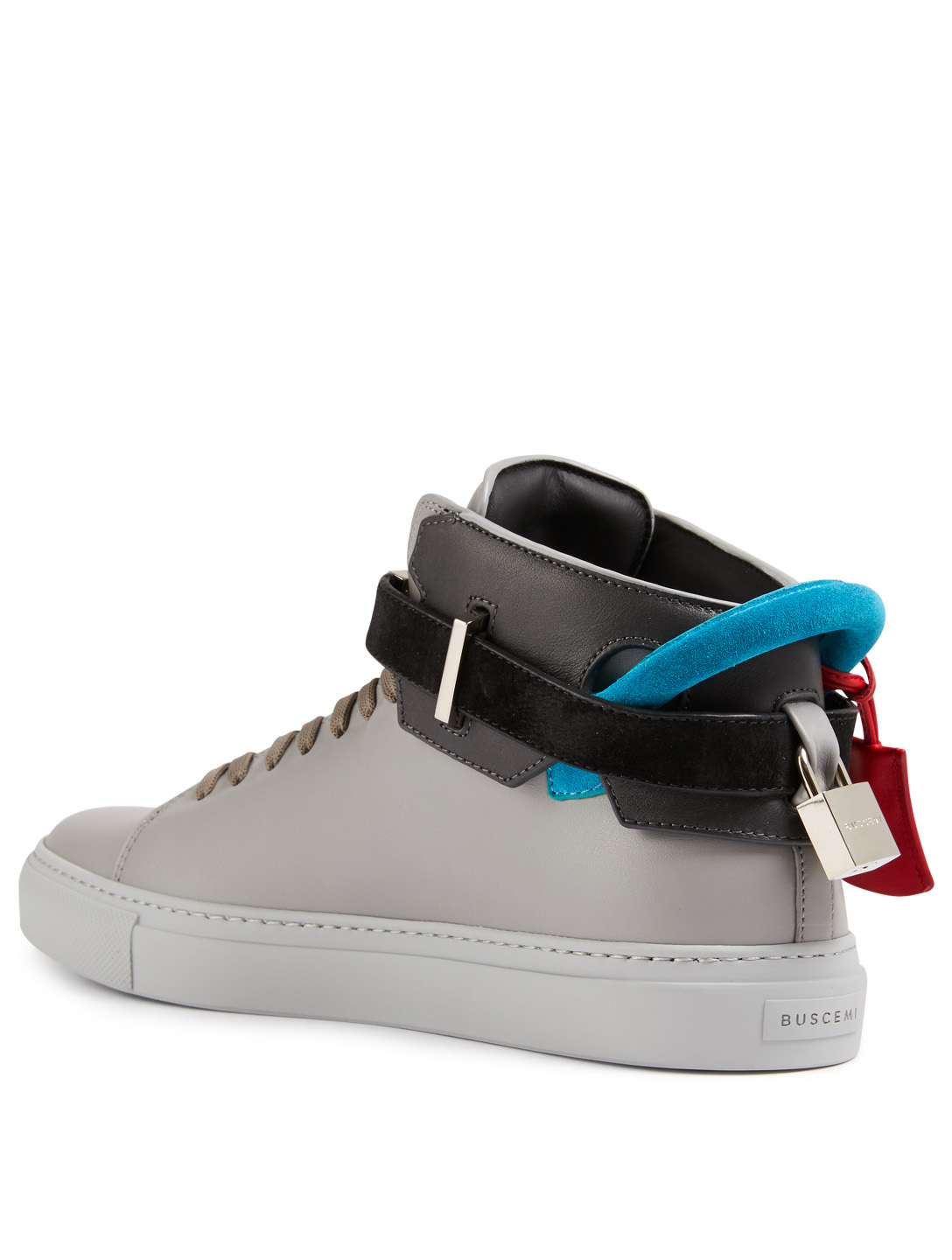 BUSCEMI 100MM Leather Sneakers Men's Grey