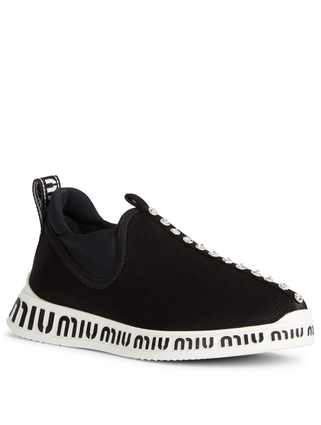 MIU MIU Technical Fabric Slip-On Sneakers Womens Black