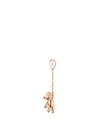 QEELIN Bo Bo Mini Chocky 18K Rose Gold Earring With Diamonds And Quartz Womens Metallic