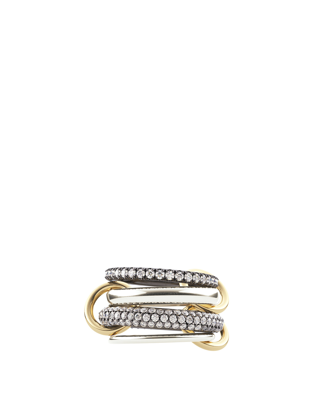 SPINELLI KILCOLLIN Vega SG Sterling Silver And 18K Gold Stacked Ring With Diamonds Women's Multi