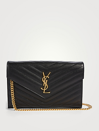 SAINT LAURENT YSL Monogram Leather Chain Wallet Envelope Bag Women's Black