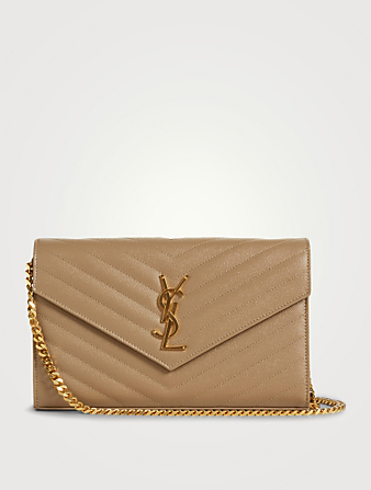 SAINT LAURENT YSL Monogram Leather Chain Wallet Bag Women's Neutral