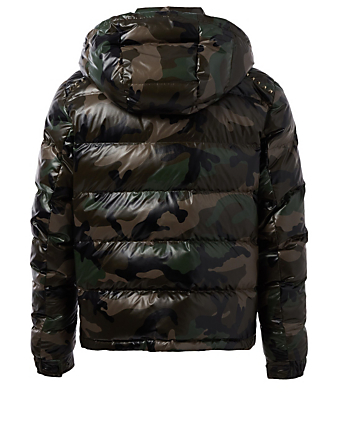 VALENTINO Rockstud Untitled Down Puffer Jacket In Camo Print Men's Green