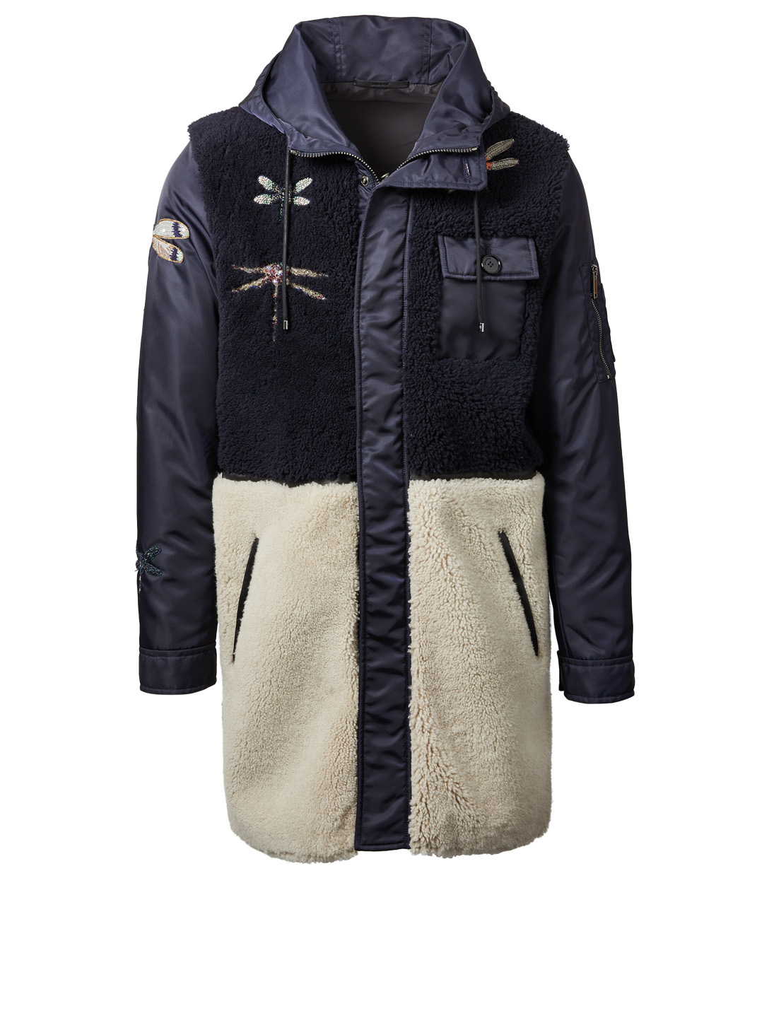 VALENTINO Dragonfly Shearling Coat Men's Blue