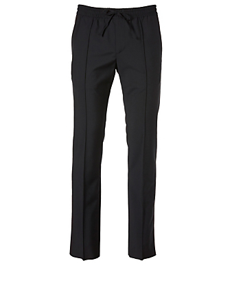 VALENTINO Wool Pants With Stripe Men's Blue