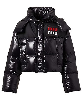 MIU MIU Short Logo Puffer Jacket Women's Black