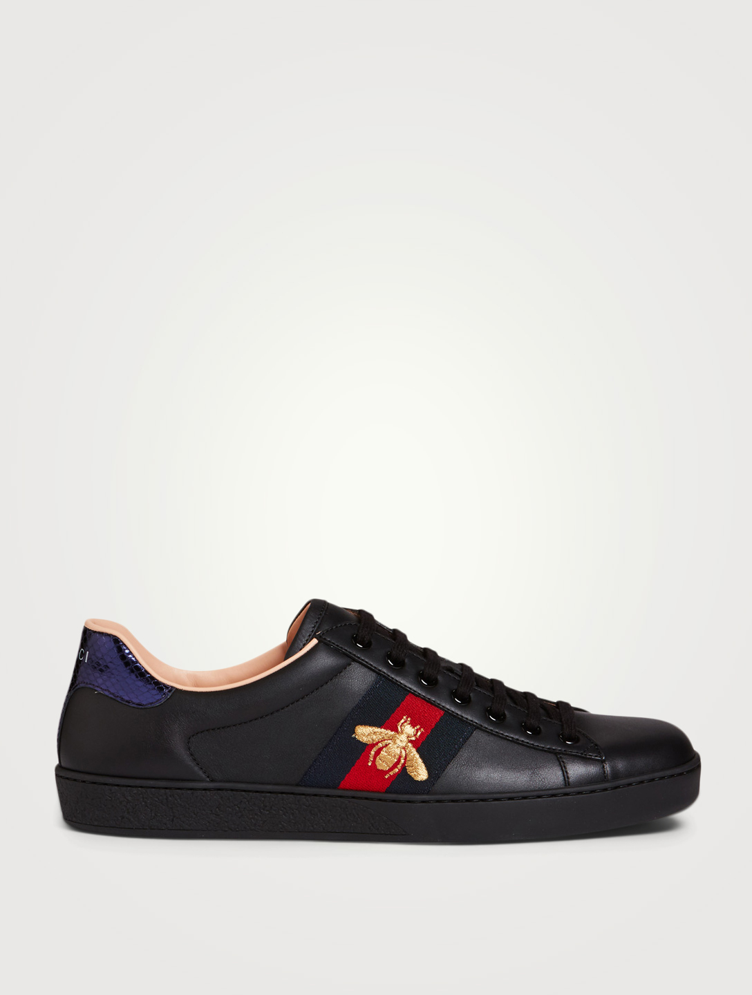 fca1cd865 GUCCI New Ace Embroidered Leather Sneakers Men's Black ...
