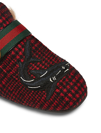 GUCCI Princetown Checkered Slippers With Lambswool Men's Red