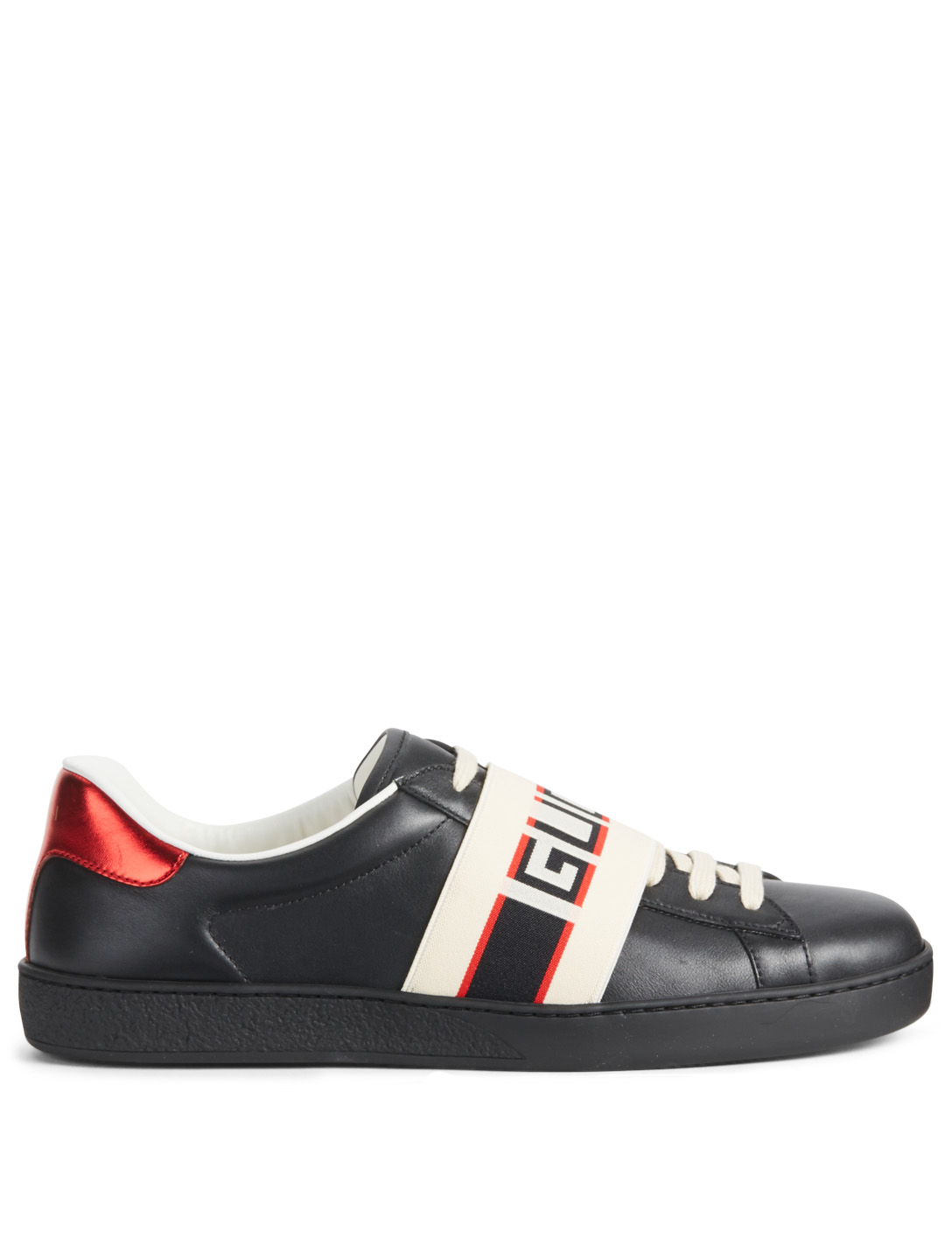 35d5068822c1e GUCCI New Ace Leather Sneakers With Logo Stripe Men s Black ...