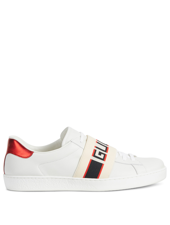 d27da5c27 GUCCI New Ace Leather Sneakers With Logo Stripe Men's White ...