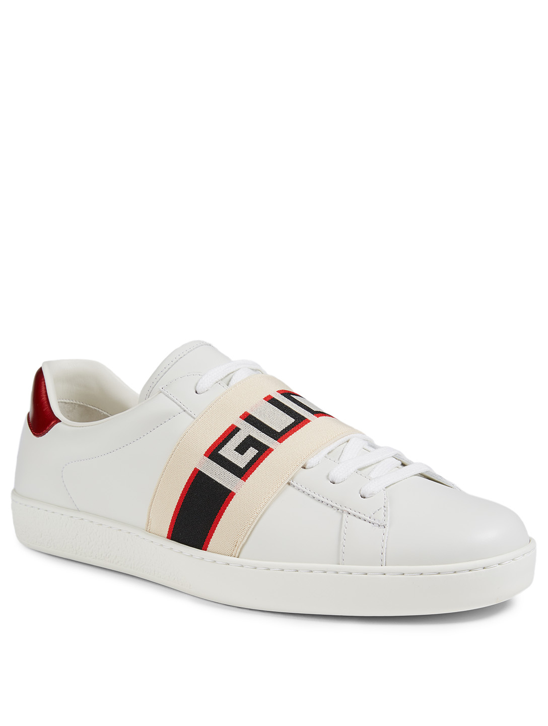GUCCI Ace Leather Sneakers With Logo Stripe Men's White