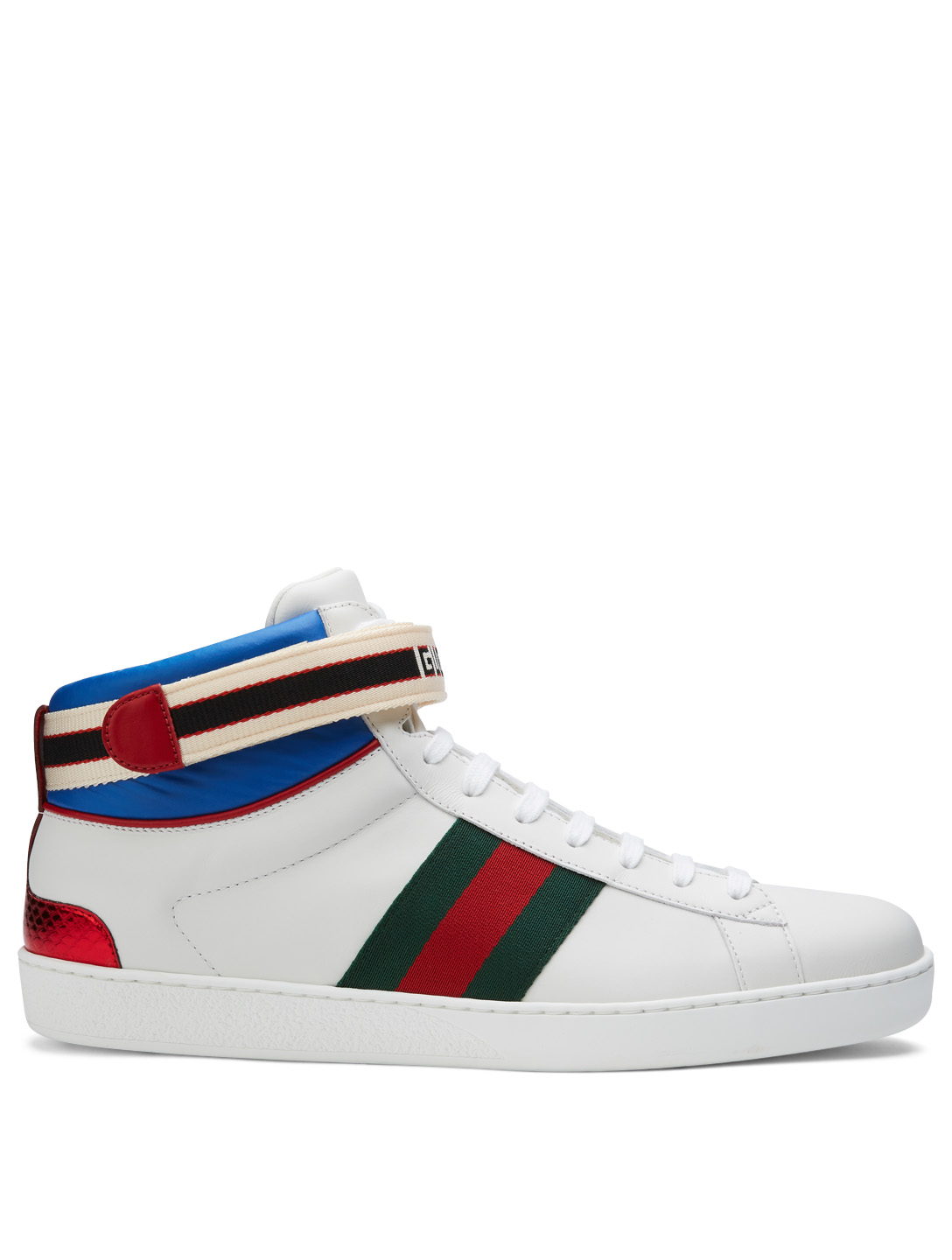 5d3e570d8e3 GUCCI Ace Leather High-Top Sneakers With Logo Stripe Men s White ...