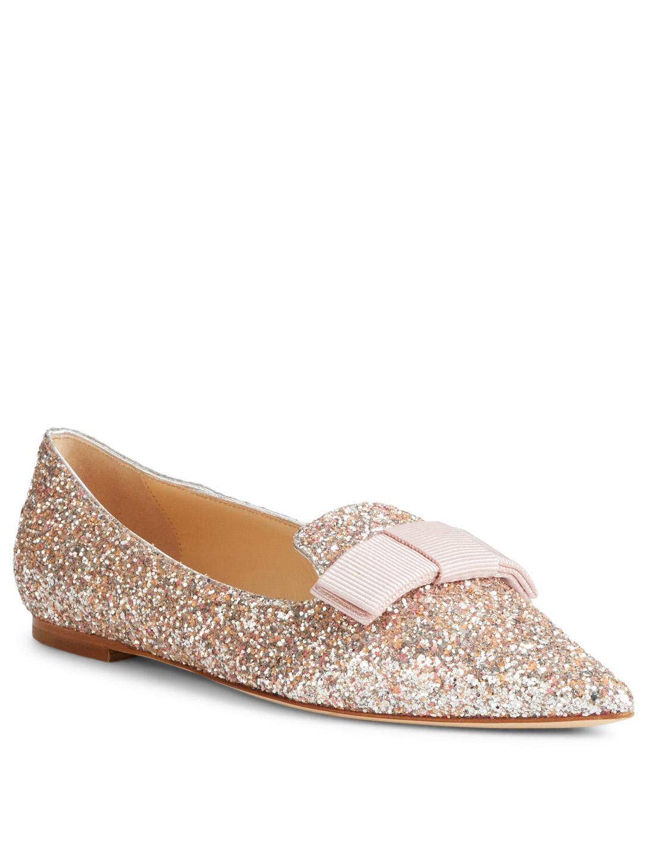 bd46ac58b5c8 ... JIMMY CHOO Gala Glitter Flats Womens Gold ...